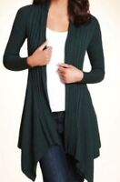 M&S Open Front Ribbed Oblong Cardigan, BNWT, Forest Green, Size 14, Cotton Blend