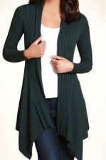 M&S Open Front Ribbed Oblong Cardigan, BNWT, Forest Green, Size 10, Cotton Blend