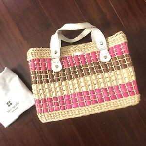 Authentic Kate Spade Wicker Woven Basket Pink Straw Purse Bag Handbag W/ Dustbag