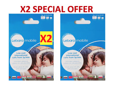 X2 LEBARA Mobile Sim Card Pay As You Go PAYG SEALED 4G Data Standard/Micro/Nano