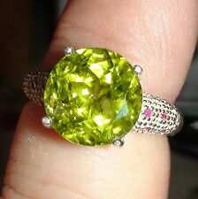AMAZING BEAUTIFUL! NATURAL  AAAAA..PERIDOT 6.00 CT,RUBY 925 SILVER,SIZE 6.75