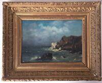 French Impressionist Antique oil painting Seascape Albert PORCHER (1834-1895)