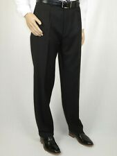 Men's MANTONI Pleated Dress Pants 100% Wool Super 140's Classic Fit  40901 Black