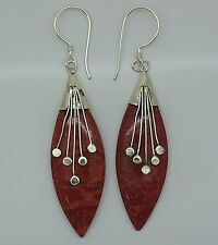 Handcrafted Designer Rosso Corallo Dangle Earrings in vera 925 Argento Sterling