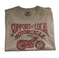 MEN'S LARGE LUCKY BRAND SUPPORT YOUR LOCAL MOTORCYCLE SHOP T-SHIRT RED NEW!