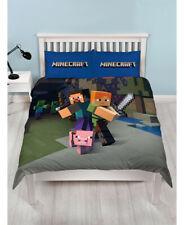 MINECRAFT Quilt Cover Set Kids Bedding Cotton Blend Reversible Cover DOUBLE