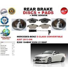 FOR MERCEDES E200 E250 CAB A207 2013-ON REAR BRAKE DISCS SET + PADS KIT + SENSOR