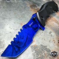 "9"" CSGO Tactical Huntsman Spring Assisted Folding Pocket Knife BLUE Sapphire NEW"
