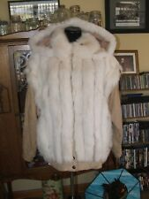 Hopper Fox Fur Jacket, Spotted, White, Convertible, Leather, Tan, Women's Large