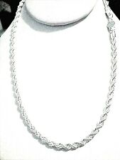 mens/womens 4mm diamond cut rope chain 925 sterling silver 16/18/20/22 or 24'