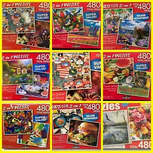 8-Puzzles-*480 Piece Jigsaw Puzzle - 2 in 1 Puzzles* FREE SOLAR TOY!!