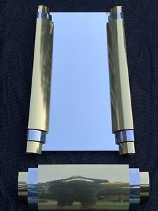 Curtis Jere Art Deco Stylized Brass Chrome Wall Mirror Console Shelf Sculpture