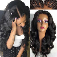 Pre Plucked Body Wave Wigs 100% Indian Remy Human Hair Full Lace Wig Free Part @