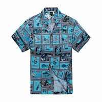Men Tropical Hawaiian Aloha Shirt Cruise Luau Beach Party Turquoise Honu Ukulele