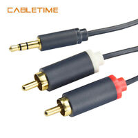 Cabletime 3.5mm Male to 2RCA Audio Stereo RCA Cable Splitter Cable for Tablet PC
