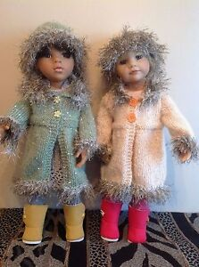 """Dolls Fashion clothes knitting pattern. 18"""" doll. Fur trimmed coat and hat.KNM79"""