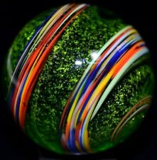 "STEVE WILLIS HANDMADE GLASS MARBLE/1.103""-EMERALD RAINBOW STARDUST-GOLDENROD++"