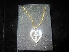 "Beautiful Cross in Heart Necklace 18"" golden Chain"