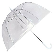 Large Unisex Clear Dome Umbrella U Handles See Through Transparent Walk Brolly