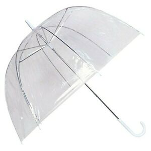 2x Large Clear Dome Umbrella Rain See Through Bubble Transparent Walking Brolly