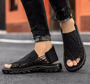 Mens Summer Peep Toe Breathable Casual Trend Colorblock Slingbacks Flats Sandals