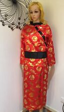 Ladies Red Oriental Chinese Japanese Kimono Fancy Dress Costume Outfit