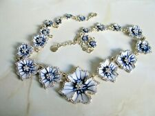 Vintage Designer Erwin Pearl Enamel Flower Necklace