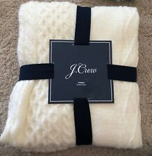 """NWT J.Crew J CREW Home Ivory Cable Knit Wool Blend Throw Blanket 50"""" x 70"""""""