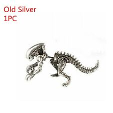 2018 Hot Cool Punk 3d Animal Dinosaur Pierced Stud Earrings Jewelry Gifts 1pc Oldsilver