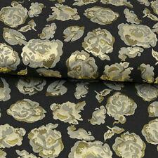 Brokatstoff Blumenmuster schwarz gold