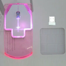 Colorful LED Light Transparent Wireless Mouse Optical Mice For Laptop Desktop PC