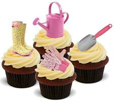 NOVELTY GARDENING LADIES PINK GARDENERS TOOLS 12 STAND UP Cake Toppers Birthday