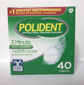 Polident 3 Minute Antibacterial Denture Cleanser-Triple Mint-40 Tablets