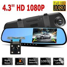 Car DVR 4.3' HD 1080P Dual Lens Auto Mirror Dash Cam Recorder Rearview Camera Kj