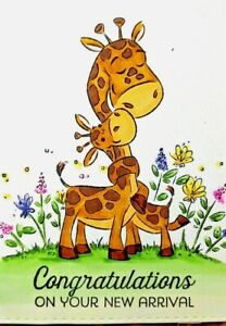 Baby Giraffe Handmade Greeting Card, congratulations, baby shower,