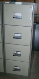 Chubb 4 Drawer Fire Proof Filing Cabinet,With Key. 3 Available