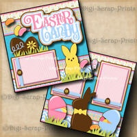 Easter Bunny Time 2 PRINTED Premade Scrapbook Pages Boy Girl Baby BLJgraves 80