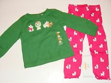 Gymboree Cheery All The Way Girls Size 18-24 M Top Dog Puppy Leggings NWT NEW