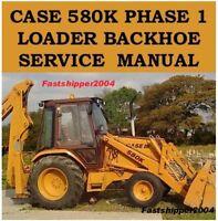 CASE 580 K PHASE 1 TRACTORS 580K SHOP SERVICE REPAIR MANUAL BACKHOE LOADER CD