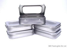 5 X MINI SILVER HINGED TIN WITH WINDOW IDEAL FOR TINDER/FIRE LIGHTING KITS