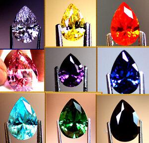 High Quality Hand Cut Pear Cubic Zirconia Colour & Size Choice CZ