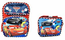 "Disney Cars 3 Boys 16"" Canvas Blue& Red School Backpack with Lunch Bag"
