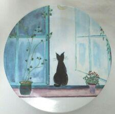 Isabel Melamine Italy Kitty Black Cat footed Tray Plate Plants Moon Rare