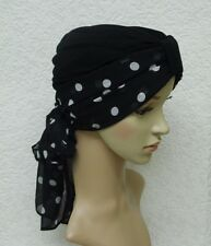 Chemo turban hat, turban and scarf, two piece head wear, black turban & scarf