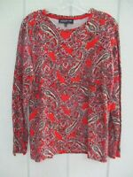 Jones New York Women's Size L Red Paisley Long Sleeve Blouse