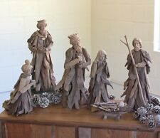 Large Driftwood Nativity Set Christmas Holiday Winter Decor ~ Set Of 6
