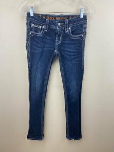 Rock Revival Womens 25 Yui Straight Skinny Denim Blue Jeans