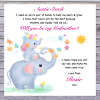 PERSONALISED BABY WILL YOU BE MY GODMOTHER GODFATHER GODPARENTS REQUEST CARDS