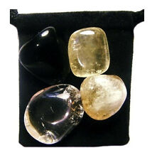 SOUL CLEANSING Tumbled Crystal Healing Set = 4 Stones + Pouch + Description Card