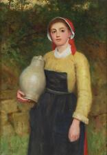 Charles Sillem Lidderdale Fine Antique Oil Painting Portrait Young Lady Signed